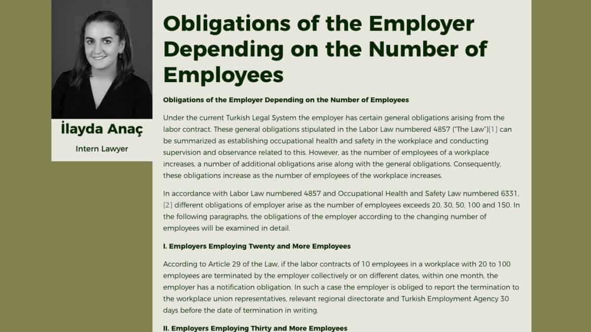 Obligations of the Employer Depending on the Number of Employees