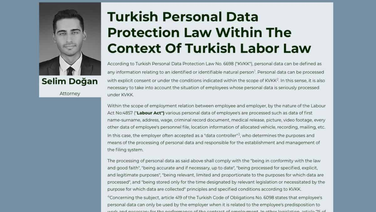 Turkish Personal Data Protection Law Within The Context Of Turkish Labor Law