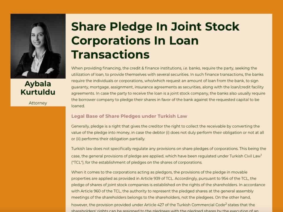 Share Pledge In Joint Stock Corporations In Loan Transactions