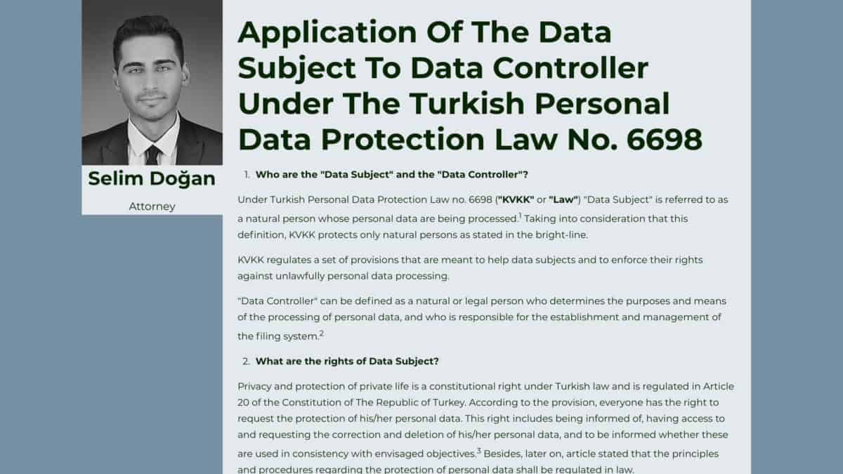 Application Of The Data Subject To Data Controller Under The Turkish Personal Data Protection Law No. 6698