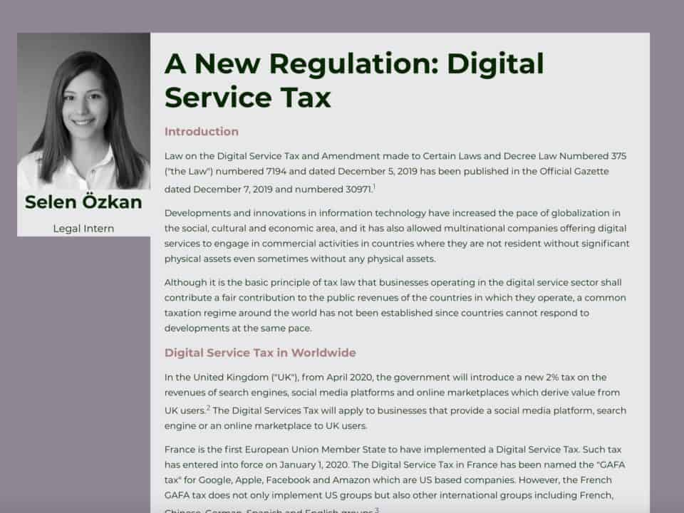 A New Regulation: Digital Service Tax