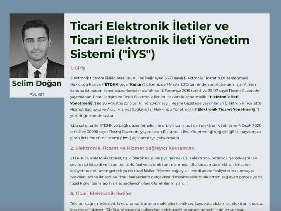 """Ticari Elektronik İletiler ve Ticari Elektronik İleti Yönetim Sistemi (""""İYS"""")"""