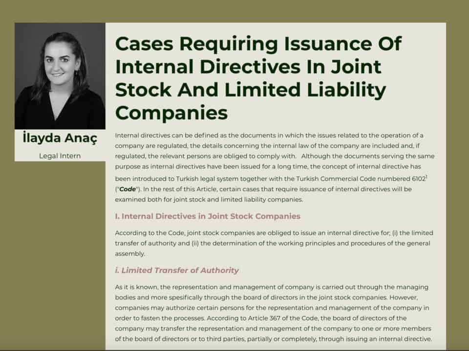 Cases Requiring Issuance Of Internal Directives In Joint Stock And Limited Liability Companies