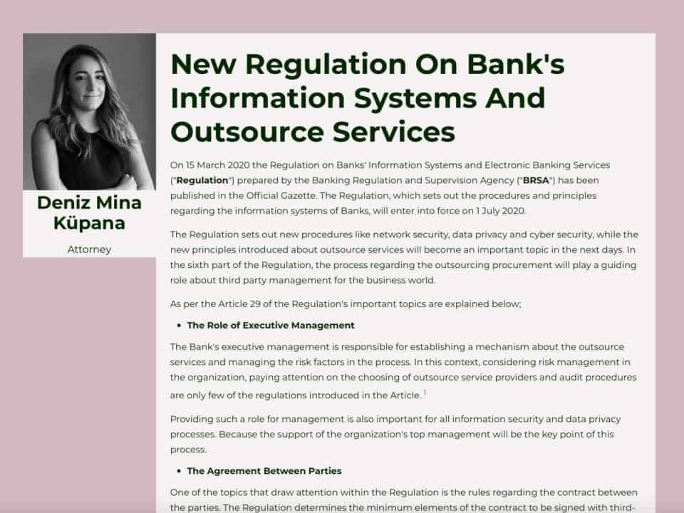 New Regulation On Bank's Information Systems And Outsource Services