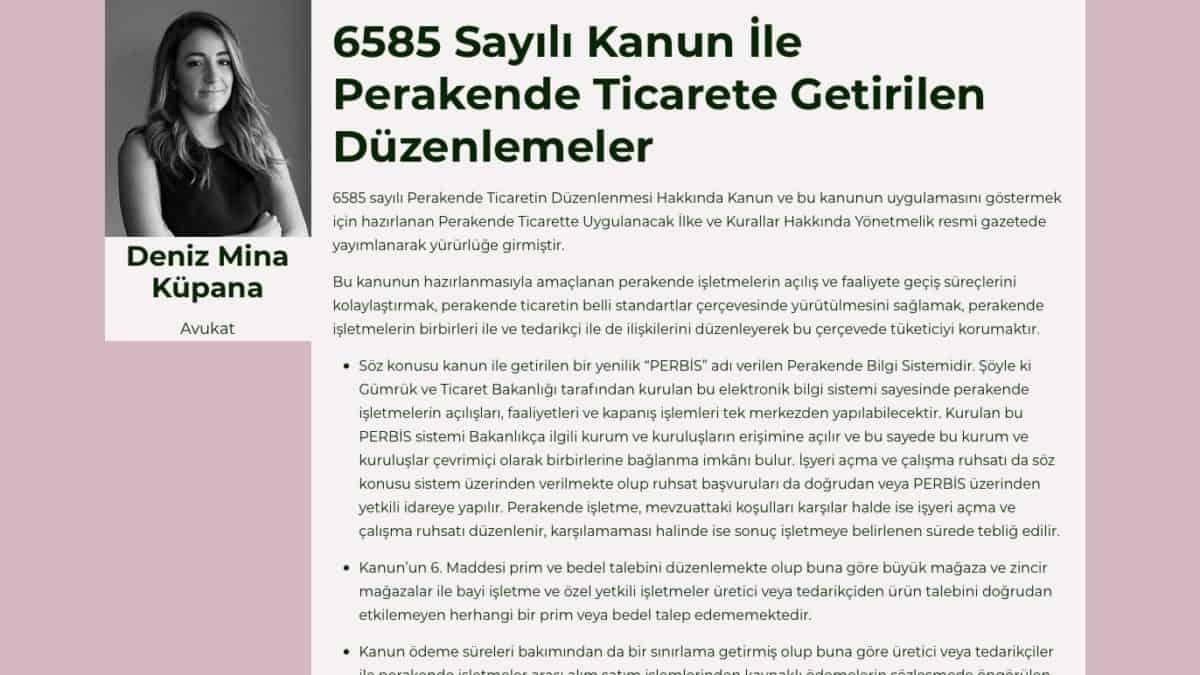 6585 Sayılı Kanun İle Perakende Ticarete Getirilen Düzenlemeler