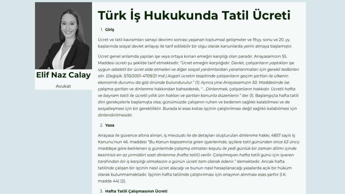 Türk İş Hukukunda Tatil Ücreti